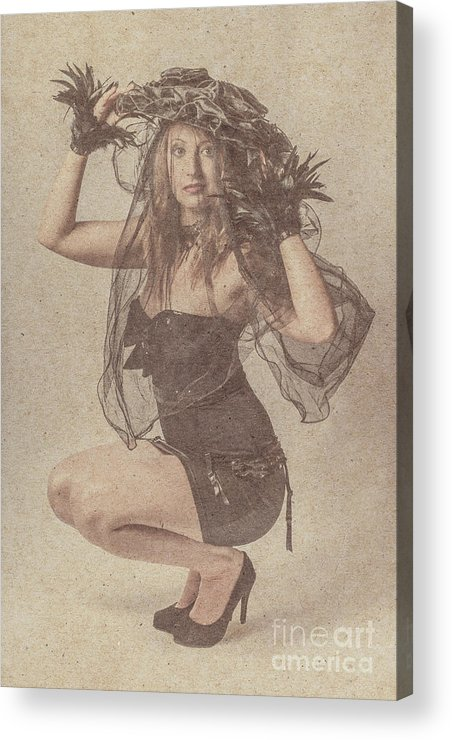 Vintage Acrylic Print featuring the photograph Blond Girl Kneeling For A Vintage Fashion Photo by Jorgo Photography - Wall Art Gallery