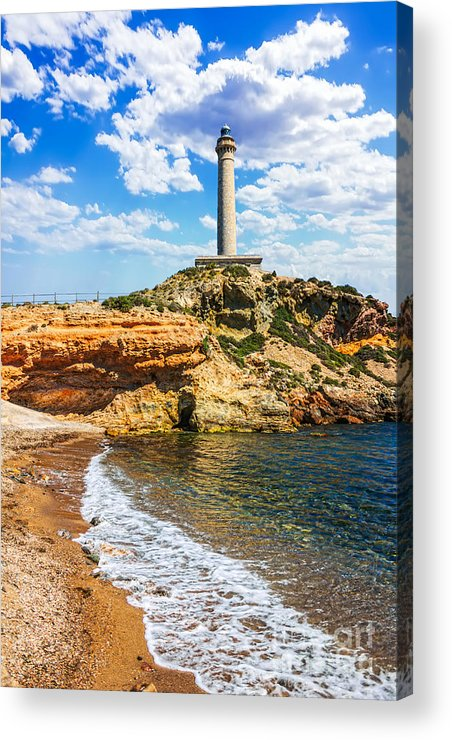 Spain Acrylic Print featuring the photograph Cabo De Palos Lighthouse On La Manga In Spain. by Dragomir Nikolov