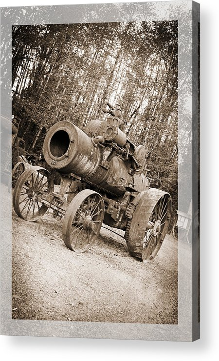 Early 1900's Steam Engine Farm Tractor Acrylic Print featuring the photograph Early 1900's Steam Engine Farm Tractor by Tina Wentworth