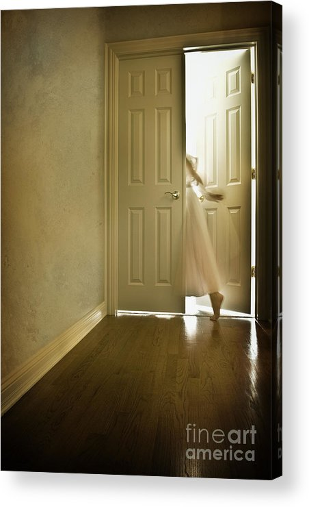 Memory; Woman; Female; Lady; Ghost; Caucasian; Dress; Pink; Flowing; Blur; Foot; Barefoot; Door; Doorway; Wood Floors; Closed; Open; Going Into The Light; Light; Bright; Heaven; Death; Wall; House; Home; Indoors; Inside; Hall; Foyer; Walking; Conceptual Acrylic Print featuring the photograph Entrance by Margie Hurwich
