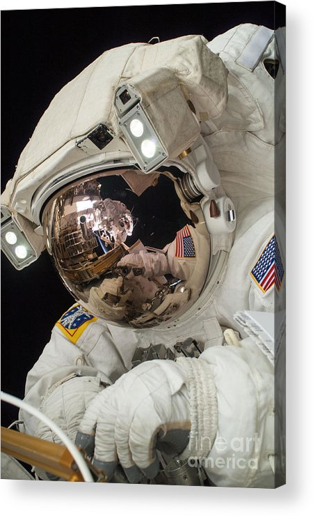 Space Acrylic Print featuring the photograph Iss Expedition 38 Spacewalk by Science Source