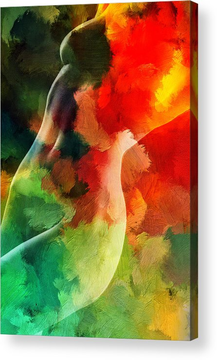Love Female Curve Curves Sexy Erotic Woman Girl Color Colorful Expressionism Impressionism Abstract Acrylic Print featuring the painting Jungle Love by Steve K