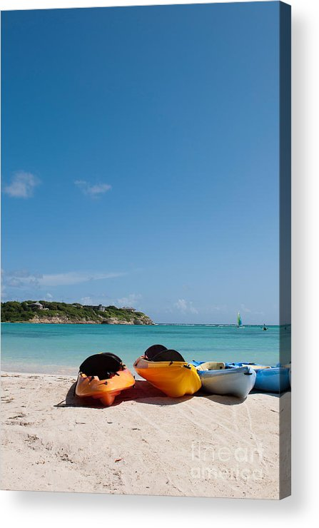 Beach Acrylic Print featuring the photograph Kayaks On Beach by Luis Alvarenga