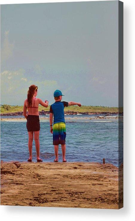 Jamaica Acrylic Print featuring the photograph Kids Exploring by Helen Bobis