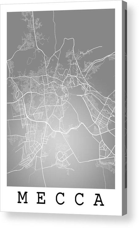 Mecca Street Map - Mecca Saudi Arabia Road Map Art On Color Acrylic ...