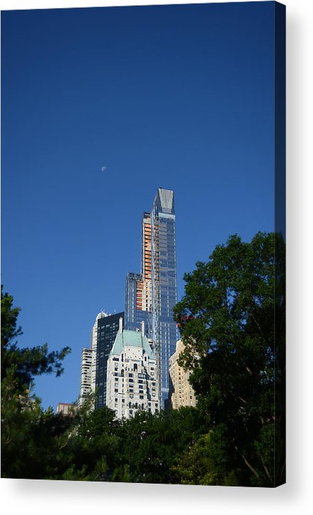 Moon Acrylic Print featuring the photograph Moon Over Manhattan by Kathrine R Mitchell