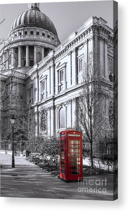 London Acrylic Print featuring the photograph Red Phone Box At St Pauls Cathedral London by Philip Pound