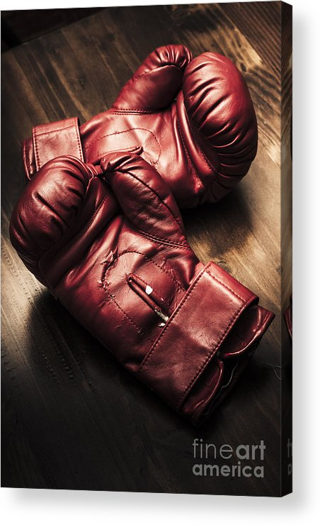 Strength Acrylic Print featuring the photograph Retro Red Boxing Gloves On Wooden Training Bench by Jorgo Photography - Wall Art Gallery