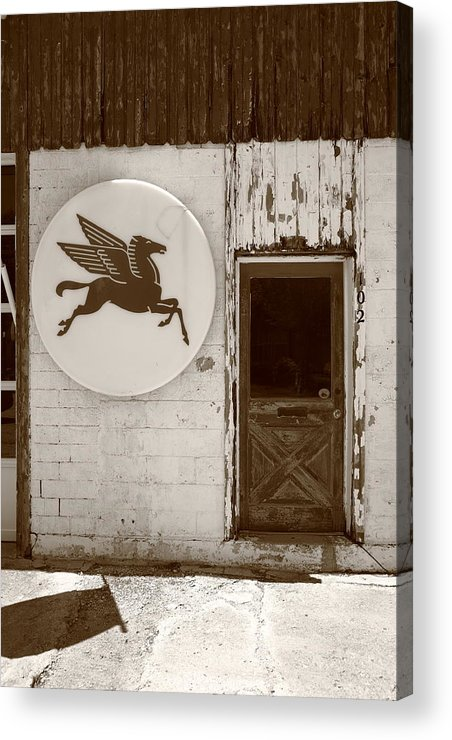 66 Acrylic Print featuring the photograph Route 66 - Rusty Mobil Station by Frank Romeo