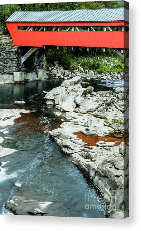 Usa Acrylic Print featuring the photograph Taftsville Covered Bridge Vermont by Edward Fielding
