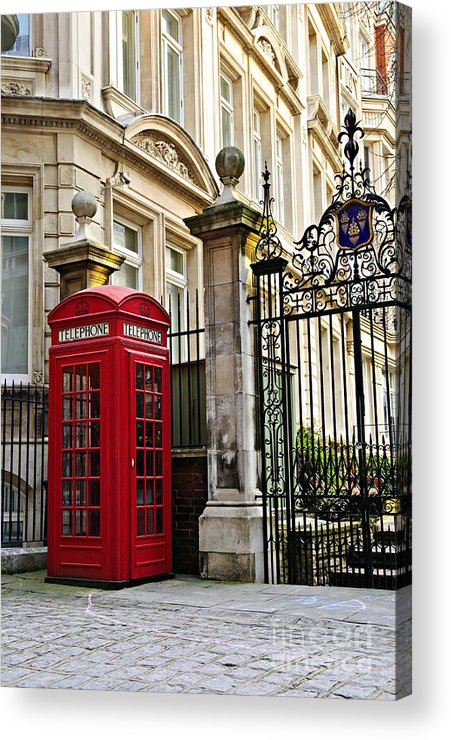 London Acrylic Print featuring the photograph Telephone Box In London by Elena Elisseeva