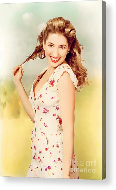 Illustration Acrylic Print featuring the photograph Vintage Pinup Woman With Pretty Make-up And Hair by Jorgo Photography - Wall Art Gallery