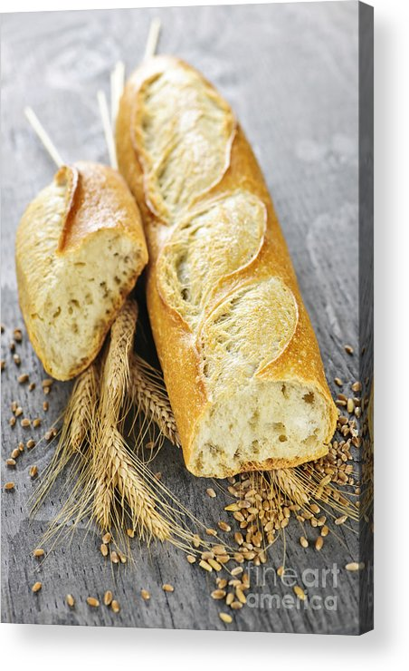 Bread Acrylic Print featuring the photograph White Baguette by Elena Elisseeva