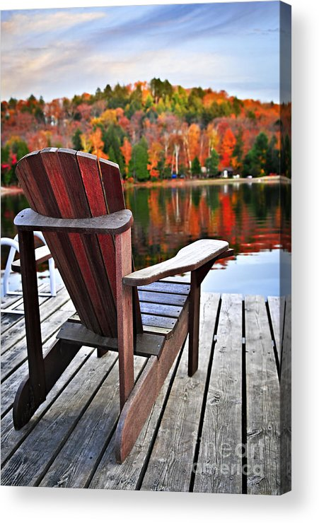 Chair Acrylic Print featuring the photograph Wooden Dock On Autumn Lake by Elena Elisseeva