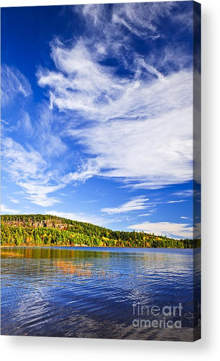 Autumn Acrylic Print featuring the photograph Fall Forest And Lake by Elena Elisseeva