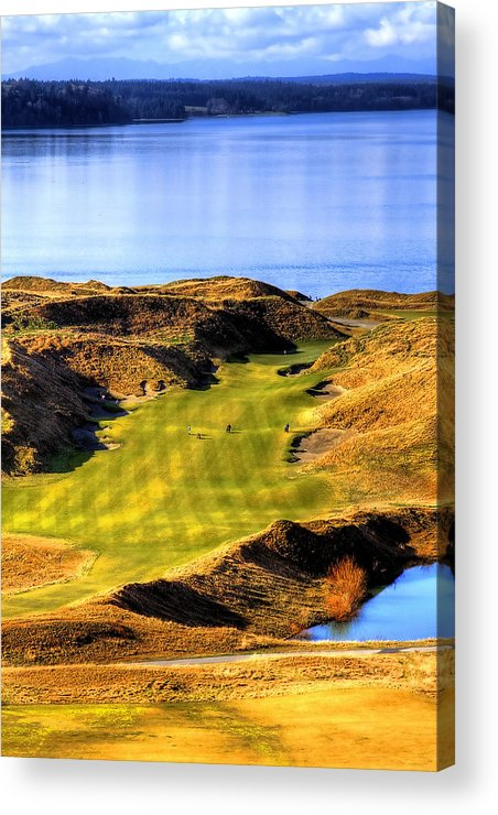 Chambers Bay Golf Course Acrylic Print featuring the photograph 10th Hole At Chambers Bay by David Patterson