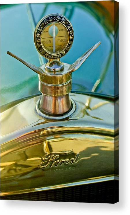 1923 Ford Model T Acrylic Print featuring the photograph 1923 Ford Model T Hood Ornament by Jill Reger