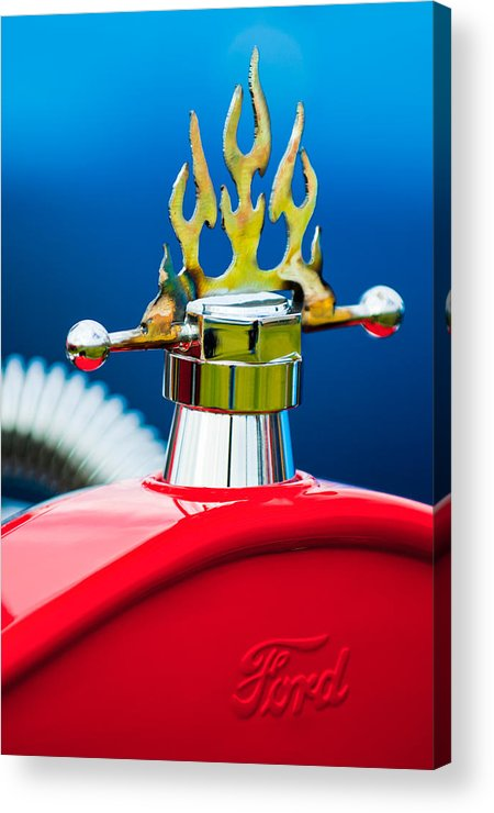 1923 Ford T-bucket Acrylic Print featuring the photograph 1923 Ford T-bucket Aftermarket Hood Ornament by Jill Reger