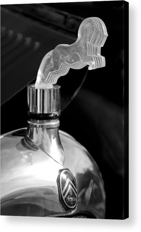 1925 Citroen Cloverleaf Acrylic Print featuring the photograph 1925 Citroen Cloverleaf Hood Ornament 2 by Jill Reger