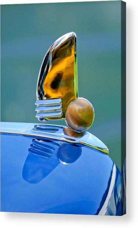 1942 Lincoln Continental Cabriolet Acrylic Print featuring the photograph 1942 Lincoln Continental Cabriolet Hood Ornament by Jill Reger