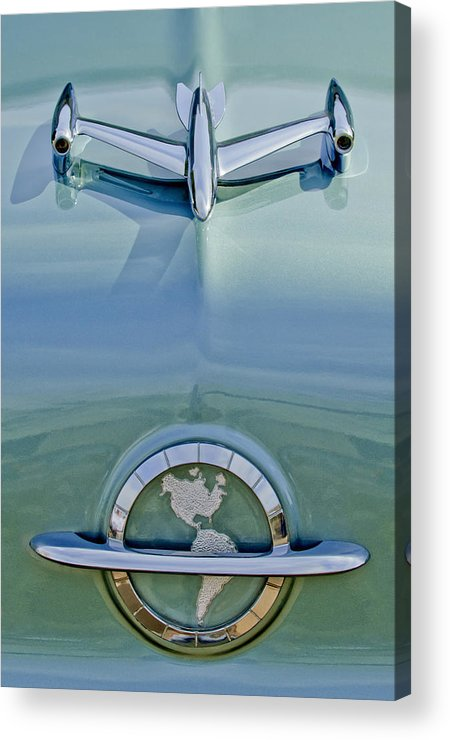 1954 Oldsmobile Super 88 Acrylic Print featuring the photograph 1954 Oldsmobile Super 88 Hood Ornament by Jill Reger