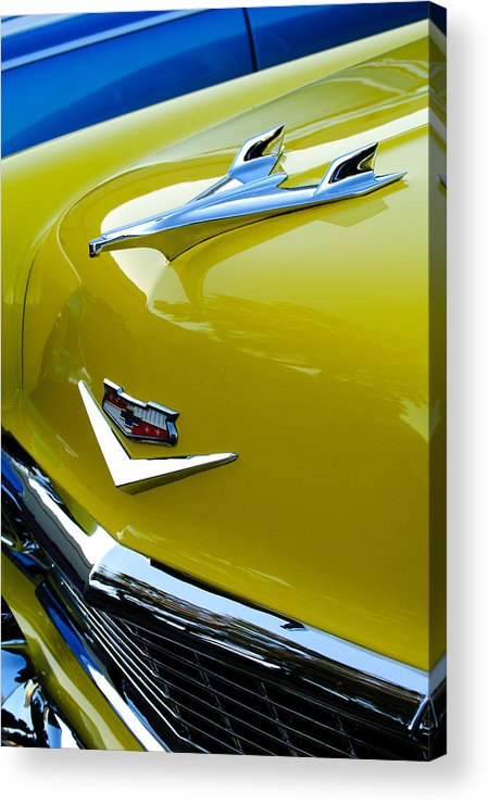 1956 Chevrolet Acrylic Print featuring the photograph 1956 Chevrolet Hood Ornament 3 by Jill Reger