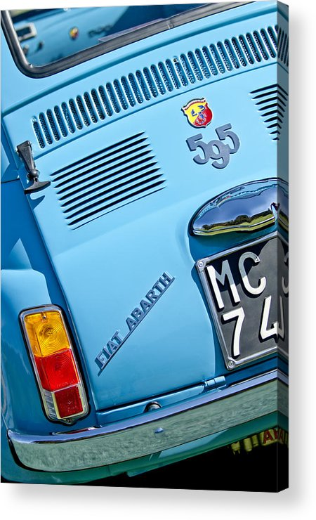 1965 Fiat Acrylic Print featuring the photograph 1965 Fiat Taillight by Jill Reger