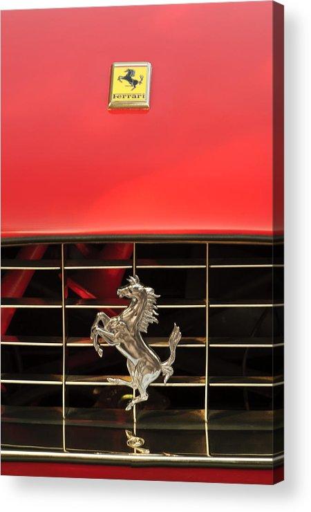 1966 Ferrari 330 Gtc Coupe Acrylic Print featuring the photograph 1966 Ferrari 330 Gtc Coupe Hood Ornament by Jill Reger