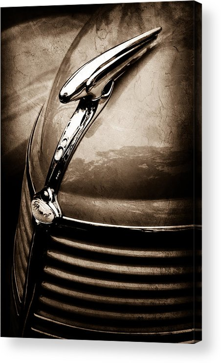1938 Ford Hood Ornament Acrylic Print featuring the photograph 1938 Ford Hood Ornament by Jill Reger