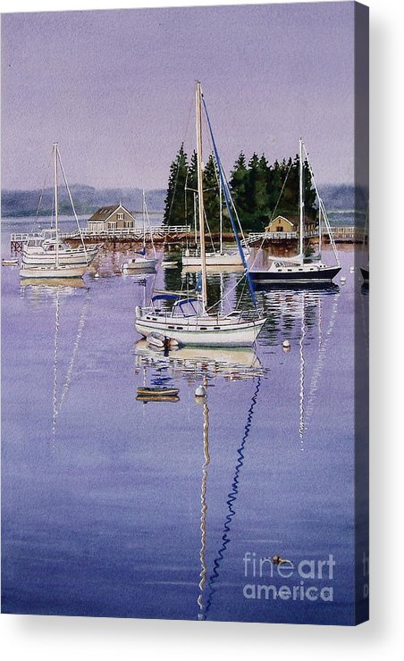 Water Acrylic Print featuring the painting Boothbay Harbor by Karol Wyckoff