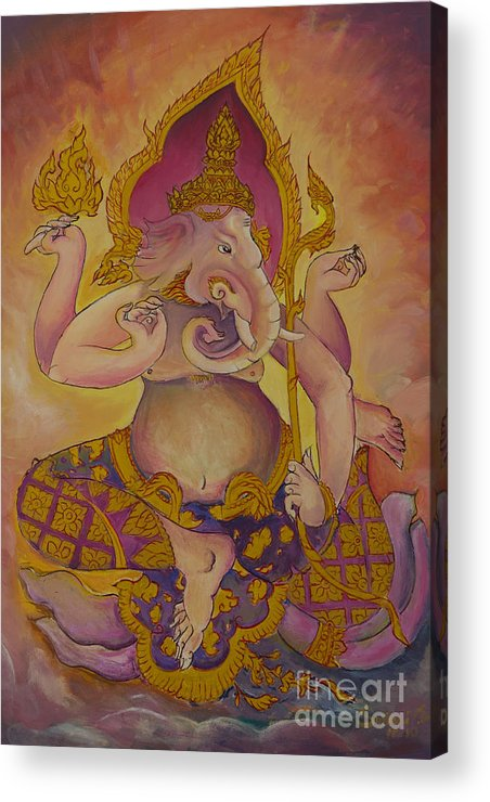 Abstract Acrylic Print featuring the photograph Ganesha God Of Hindu by Tosporn Preede
