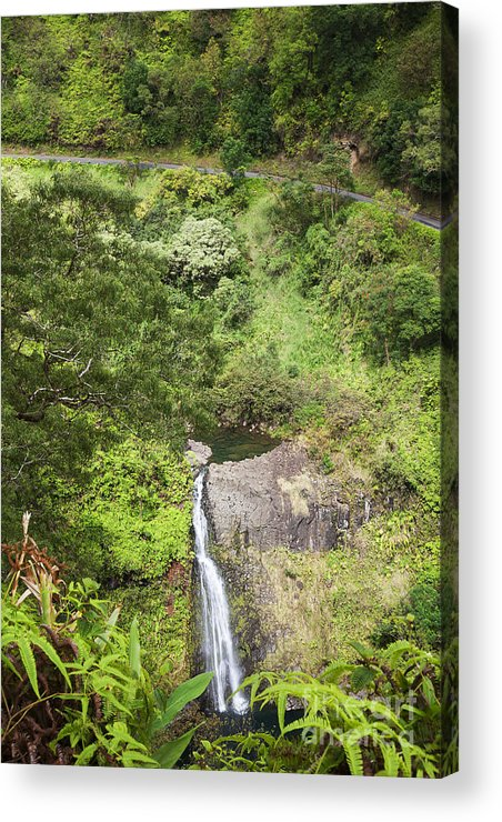 Cascade Acrylic Print featuring the photograph Hana Waterfall by Jenna Szerlag