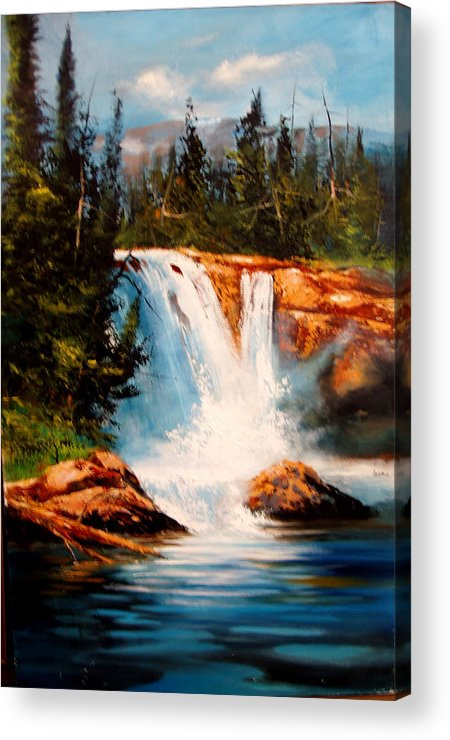 Landscape Acrylic Print featuring the painting Mountain Falls by Robert Carver