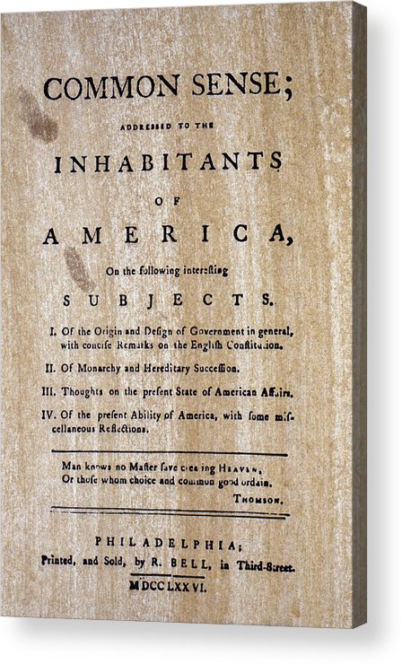 1776 Acrylic Print featuring the photograph Paine: Common Sense, 1776 by Granger