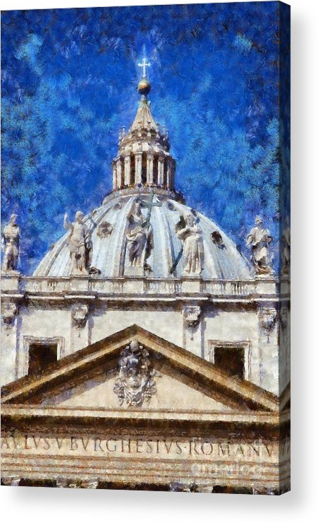 Rome Acrylic Print featuring the painting St Peter In Vatican by George Atsametakis