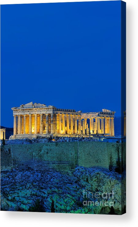 Acropolis; Acropoli; Akropoli; Akropolis; Parthenon; Monument; Athens; City; Capital; Attica; Attika; Attiki; Greece; Hellas; Greek; Hellenic; Europe; European; Temple; Ancient; Dusk; Twilight; Evening; Night; Lights; Holidays; Vacation; Travel; Trip; Voyage; Journey; Tourism; Touristic; Summer Acrylic Print featuring the photograph Parthenon In Acropolis Of Athens During Dusk Time by George Atsametakis