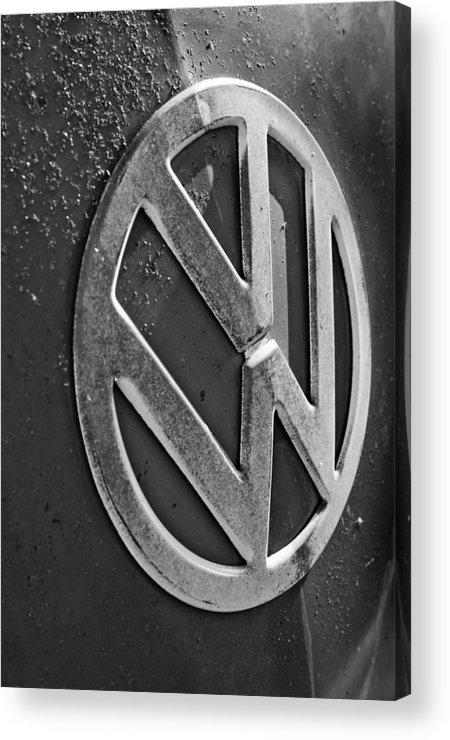 Volkswagen Vw Bus Front Emblem Acrylic Print featuring the photograph Volkswagen Vw Bus Front Emblem by Jill Reger