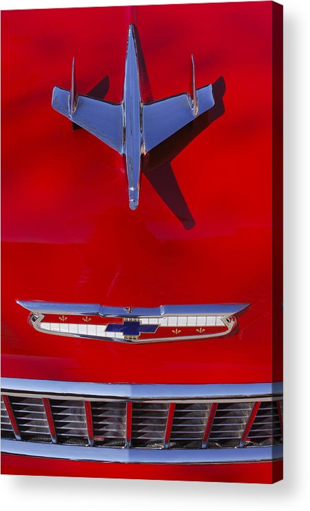 Car Acrylic Print featuring the photograph 1955 Chevrolet Belair Nomad Hood Ornament by Jill Reger