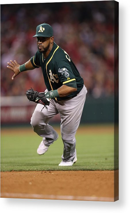 American League Baseball Acrylic Print featuring the photograph Oakland Athletics V. Los Angeles Angels 5 by Paul Spinelli
