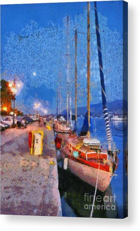 Lesvos; Lesbos; Mytilini; Mitilini; Mytilene; City; Town; Port Acrylic Print featuring the painting Mytilini Port by George Atsametakis