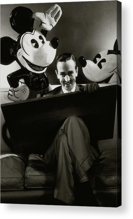 Animal Acrylic Print featuring the photograph A Portrait Of Walt Disney With Mickey And Minnie by Edward Steichen