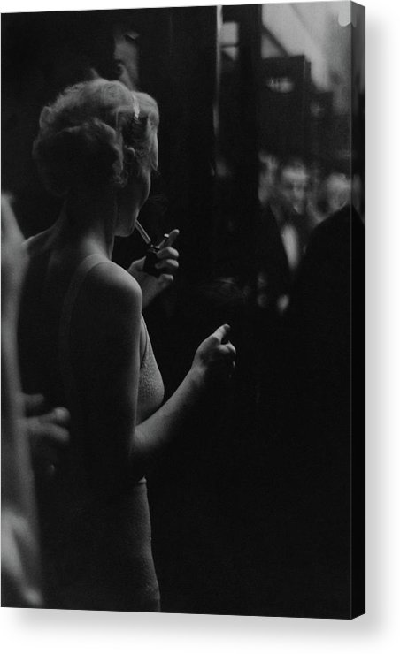 Personality Acrylic Print featuring the photograph A Woman Smoking At The Music Box by Remie Lohse