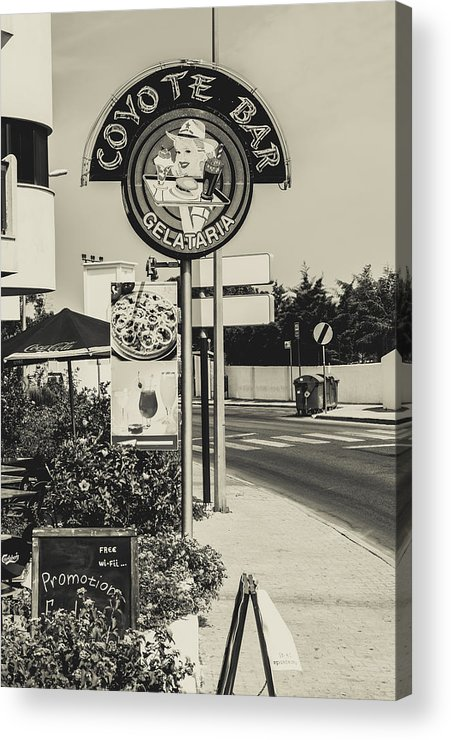 Street Acrylic Print featuring the photograph Albufeira Street Series - Coyote Bar I by Marco Oliveira