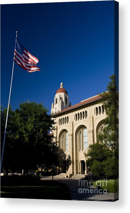 Travel Acrylic Print featuring the photograph American Flag And Hoover Tower Stanford University by Jason O Watson