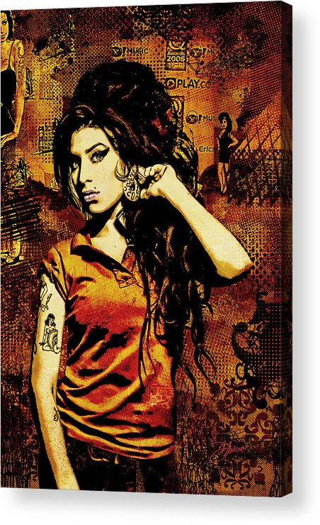 Amy Winehouse. Orange Acrylic Print featuring the digital art Amy Winehouse 24x36 Mm Reg by Dancin Artworks