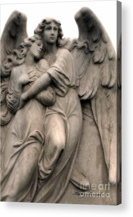 Angel Art Acrylic Print featuring the photograph Angel Photography Guardian Angels Loving Embrace by Kathy Fornal