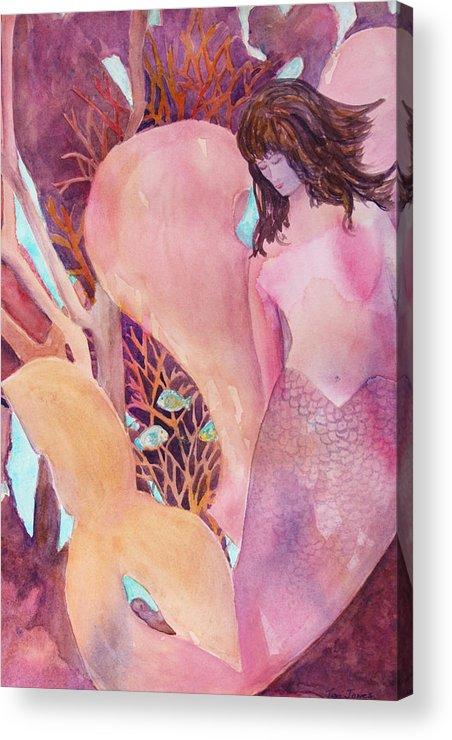 Mermaid Acrylic Print featuring the painting Angel Of The Sea by Teri Jones