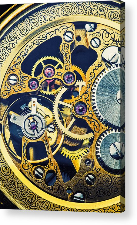 Time Acrylic Print featuring the photograph Antique Pocket Watch Gears by Garry Gay