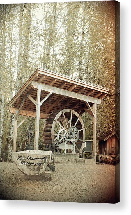 Antique Water Wagon Wheel Acrylic Print featuring the photograph Antique Wagon Wheel by Tina Wentworth