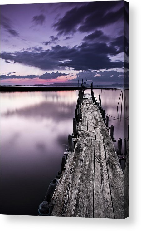 Pier Acrylic Print featuring the photograph At The End by Jorge Maia